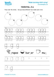Worksheets for kids - handwriting Gg
