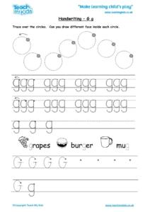 Worksheets for kids - handwriting Gg