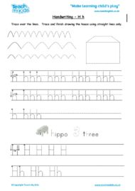 Worksheets for kids - handwriting Hh
