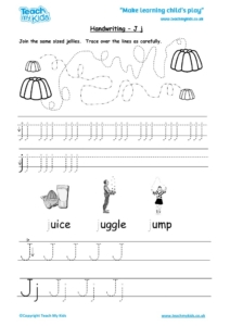 Worksheets for kids - handwriting Jj