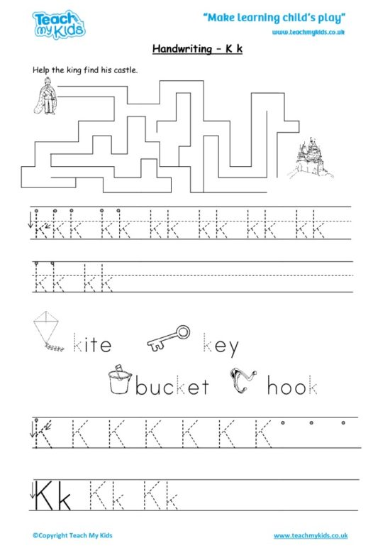 Worksheets for kids - handwriting K k
