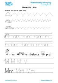 Worksheets for kids - handwriting Mm