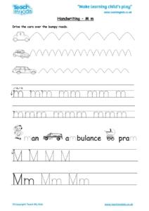 Worksheets for kids - handwriting Mm