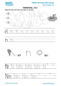 Worksheets for kids - handwriting Nn
