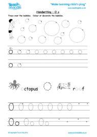 Worksheets for kids - handwriting Oo