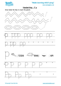 Worksheets for kids - handwriting Pp