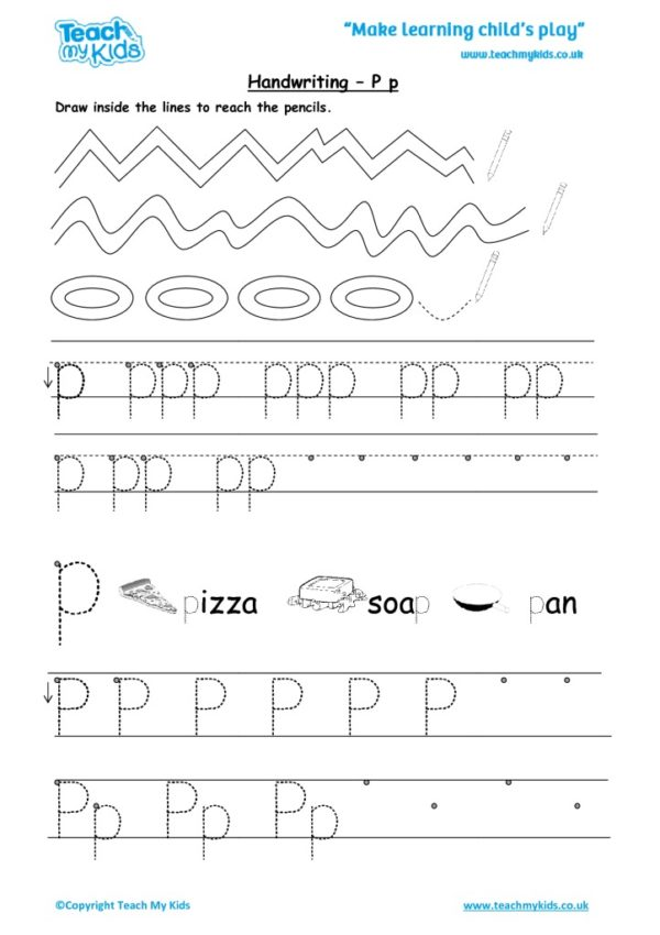 Worksheets for kids - handwriting Pp