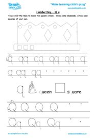 Worksheets for kids - handwriting Qq