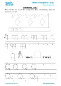 Worksheets for kids - handwriting Qq