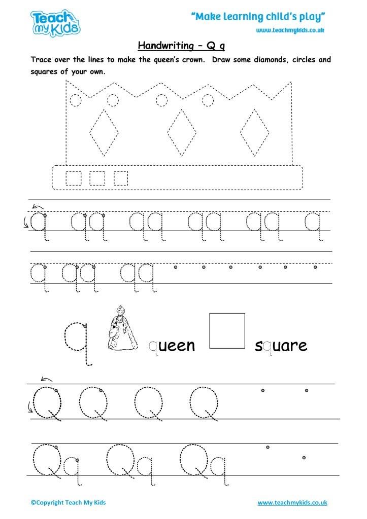 handwriting practise q q tmk education. Black Bedroom Furniture Sets. Home Design Ideas