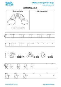 Worksheets for kids - handwriting Rr