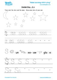 Worksheets for kids - handwriting Ss