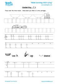 Worksheets for kids - handwriting Tt