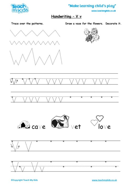 Worksheets for kids - handwriting Vv