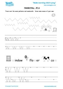 Worksheets for kids - handwriting Ww