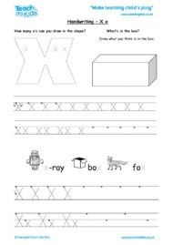 Worksheets for kids - handwriting Xx