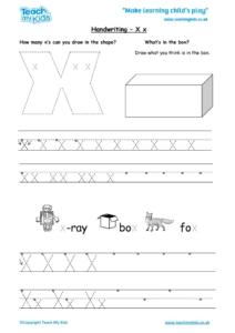 Worksheets for kids - handwriting Xx