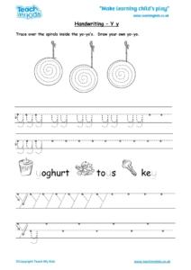 Worksheets for kids - handwriting Yy