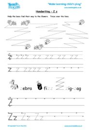 Worksheets for kids - handwriting Zz