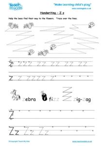 Worksheets for kids - handwriting Zz