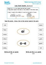 Worksheets for kids - long-vowel-sounds-ai-a-e