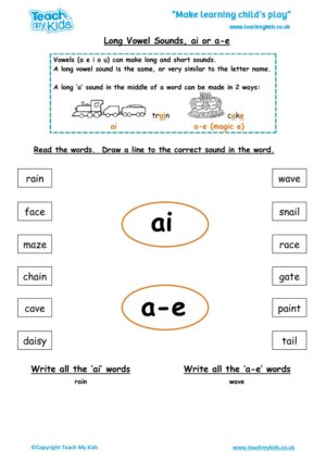 Worksheets for kids - long-vowel-sounds-ai-a-e