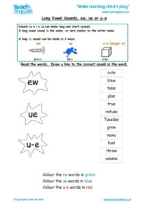 Worksheets for kids - long-vowel-sounds-ew-ue-u-e