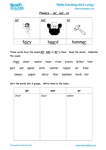 Worksheets for kids - phonics-air-ear-er