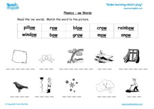 Worksheets for kids - phonics-ow-words