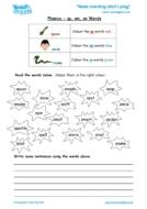 Worksheets for kids - phonics-sp-sm-sn-words