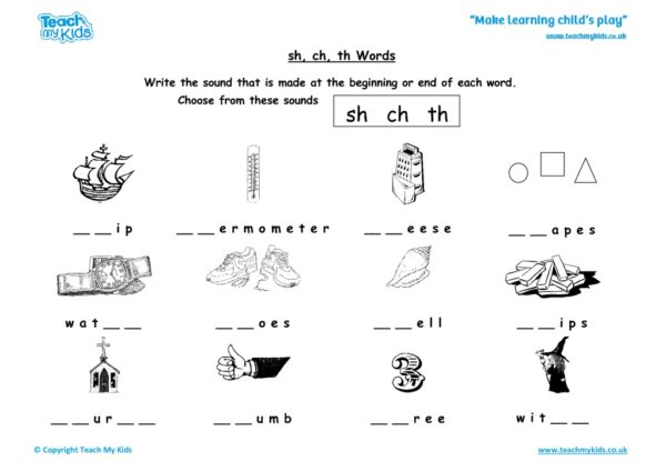 Worksheets for kids - sh-ch-th-words