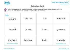 Worksheets for kids - reading – contractions match