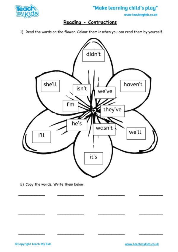 Worksheets for kids - reading – contractions