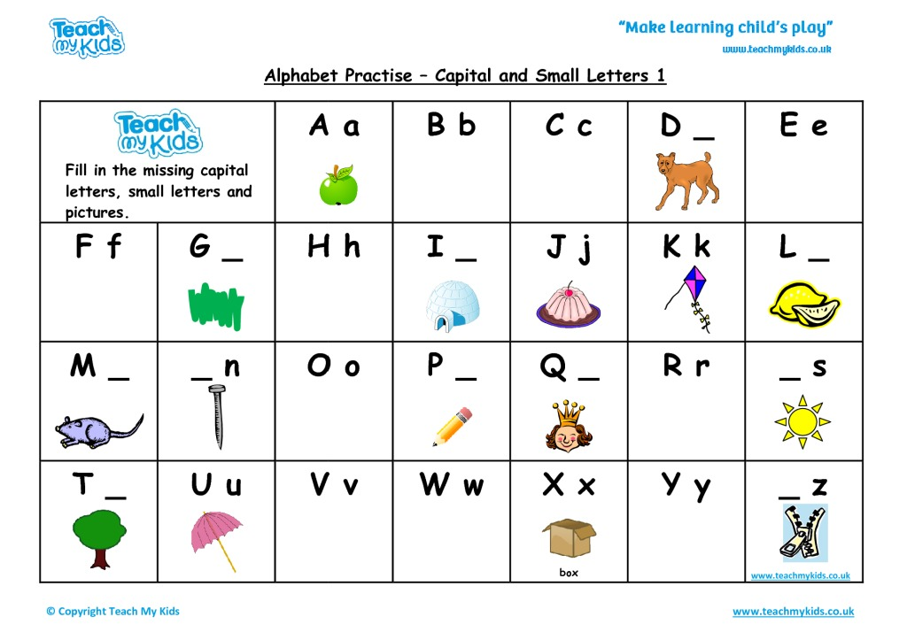 capital and small letters worksheet pdf