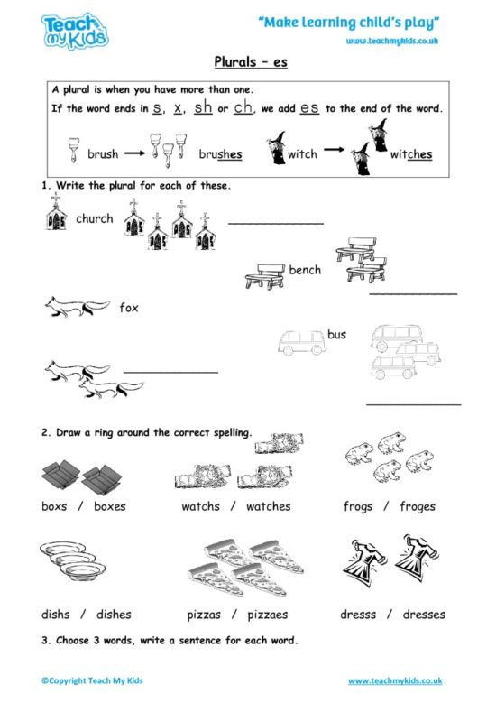 Worksheets for kids - plurals_-_es