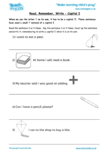 Worksheets for kids - read,_remember_write_-_capital_i