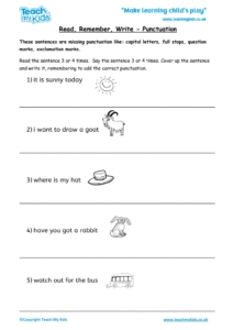 Worksheets for kids - read,_remember_write_-_punctuation_2