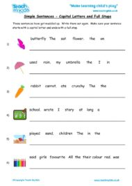 Worksheets for kids - simple-sentences-cap-letts-full-stops