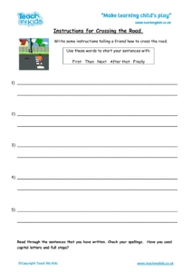 Worksheets for kids - Instructions-for-crossing-the-road