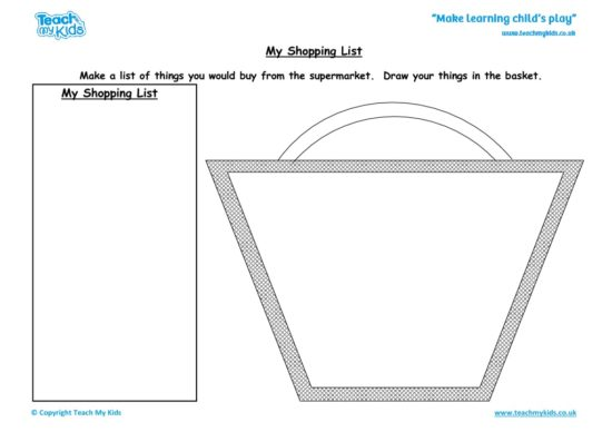 Worksheets for kids - my shopping list