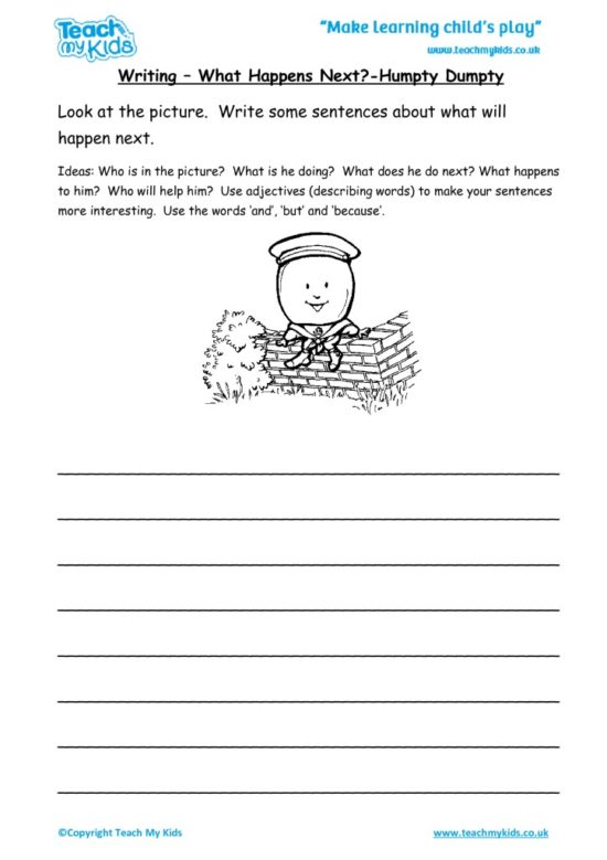 Worksheets for kids - writing-what-happens-next-humpty-dumpty