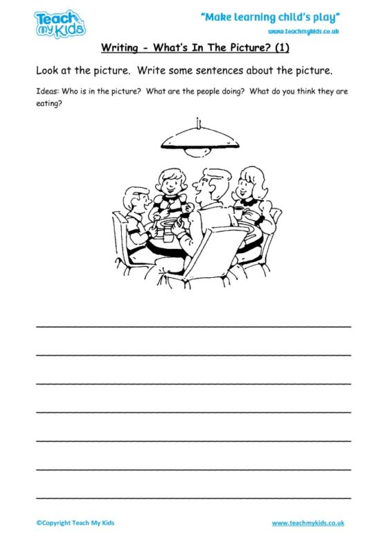 Worksheets for kids - writing – what's in the picture 1