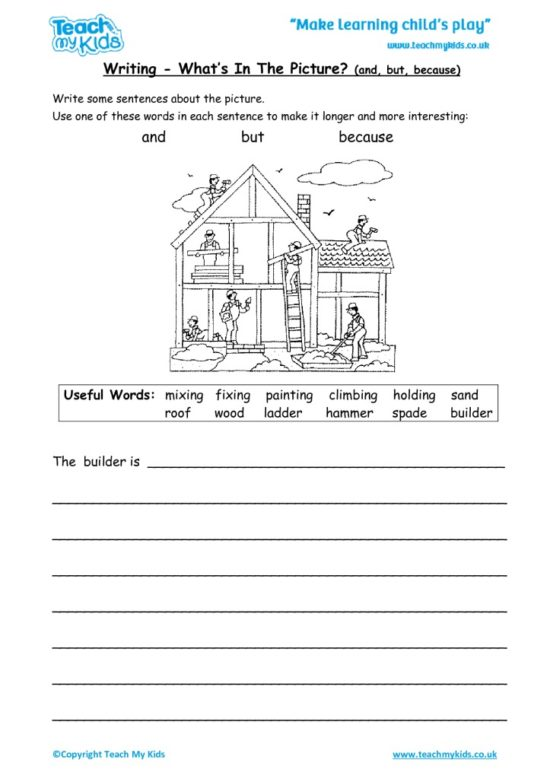 Worksheets for kids - writing-whats-in-the-picture-and-but-because