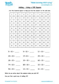 Worksheets for kids - adding-using-a-100-square1