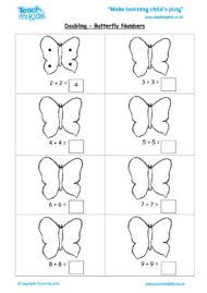 Worksheets for kids - doubling-butterfly-numbers