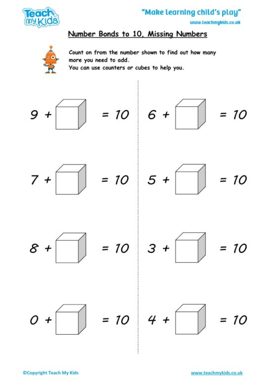 Worksheets for kids - number-bonds-to-10missing-numbers