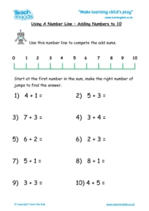 Worksheets for kids - number-line-add-to-10