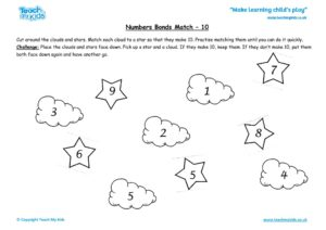 Worksheets for kids - number_bonds_match_-_10