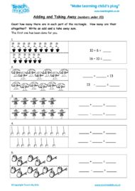 Worksheets for kids - adding-and-taking-away-numbers-under-20