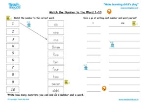 Worksheets for kids - Match the number to the word 1-10